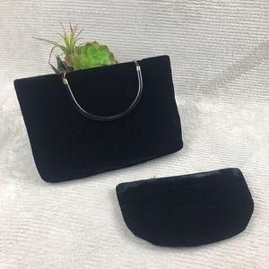 VTG Garay Black Velvet Handbag with Makeup Bag